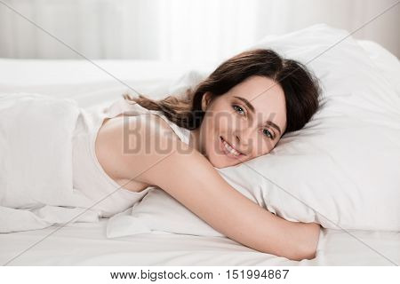 Young Girl In The Morning,lying In Bed Sleeping After Hard Work