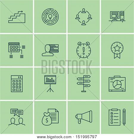 Set Of Project Management Icons On Presentation, Reminder, Collaboration And Other Topics. Editable