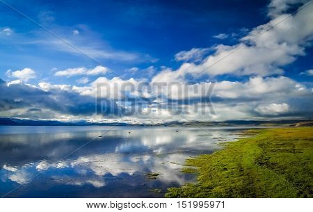 Stunning holy Lake Manasarovar in Central Tibet