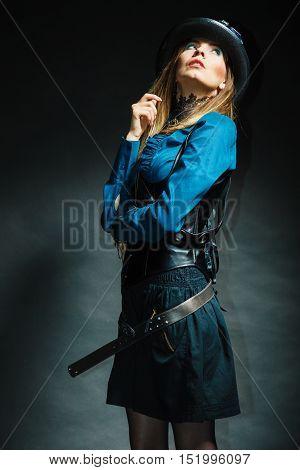 Steampunk Girl Posing.