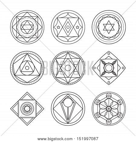 Alchemical round set. Black symbols at white background. Vector illustration of geometrical shape uniting in all composition. Color vector image. White logos for website,social media, company and etc.