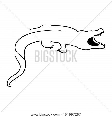 Crocodile logo. Silhouette vector symbol of crocodile for design company's logo, tattoo, visit card, etc. Monochrome sign of animal.