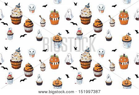 Seamless background with Halloween Cupcakes Hand Drawn sketches