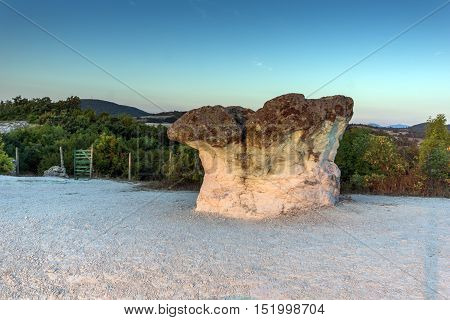 Sunrise at a rock formation The Stone Mushrooms near Beli plast village, Kardzhali Region, Bulgaria