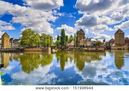 Strasbourg medieval bridge Ponts Couverts and Cathedral view from Barrage Vauban. Alsace France.