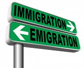 immigration or emigration political or economic migration by refugees or moving across the border by economic migrants sign 3D illustration, isolated, on white poster