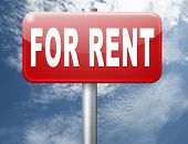 For rent sign, renting a house apartment or other real estate to let label. Home flat or room to let 3D illustration poster