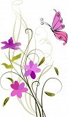 greeting card with flowers and butterfly vector illustration poster