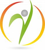 Human and circle, fitness, physiotherapy and naturopathic logo poster