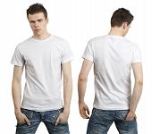 Young male with blank white t-shirt front and back. Ready for your design. poster