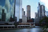 El train crossing bridge and Chicago skyline poster