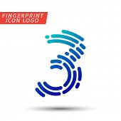 Vector logo design element, abstract information and identification fingerprint number 3 color icon  poster