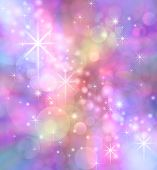 Starry Sparkling Bokeh background -   Party theme multicolored feminine pinks purple bokeh effect  with sparkles poster