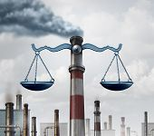 Environmental law symbol as an industrial smoke stack shaped as a justice scale as a metaphor for pollution regulations and clean air legislation with 3D illustration elements. poster