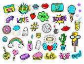Vector hand drawn fashion patches: rainbow ghost cloud doughnut cake camera lip heart star arrow speech bubble. Modern set of pop art stickers patches pins badges in 80s-90s cartoon style poster