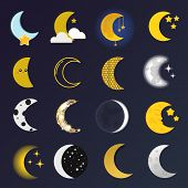 Phases of the moon vector nature cosmos cycle satellite surface. Whole cycle from new moon month to full surface star astrology sphere. Vector illustration moon month astronomy space lunar. poster