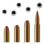 Vector shot gun bullets and bullet holes isolated on white background. Gunshot and caliber of weapon bullets illustration poster