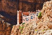 GORGES DADES MOROCCO - SEPT 24 2016: Viewpoint over serpentine mountain trail in Gorges Dades in high Atlas Morocco poster