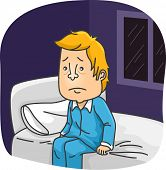 Illustration of a Man in Pajamas Sitting on His Bed While Struggling to Fall Asleep poster