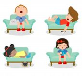 set of kid sleeping on sofa at home on white background, children resting at home, Couch and child , Simple cartoon of kids taking nap on sofa, people sleep on sofa,Vector illustration poster