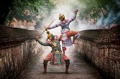 The pantomime (Khon) festival candles. Thai traditional dance of the Ramayana dance drama in Wat Mahaeyong in Ayutthaya, Thailand. poster