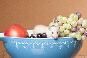 White rat sitting in a bowl surrounded by fruit poster