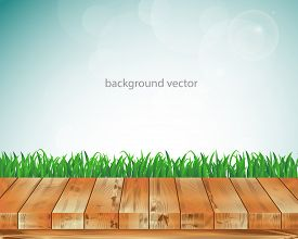 Vector illustration wood floor and Green grass.