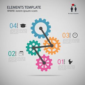 vector illustration template Infographic with gear chain.