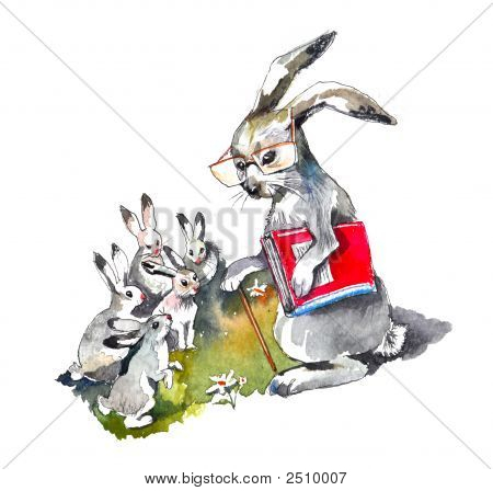 Hand made water color illustration.Old rabbit with his students. poster
