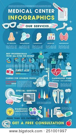 Medical Infographic With Health Care Statistic Charts. Doctor Of Cardiology Medicine, Traumatology A