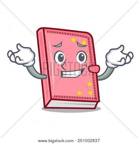 Grinning Diary Character Cartoon Style Vector Illustration