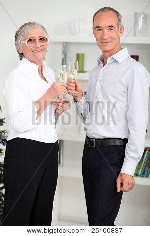 portrait of seniors celebrating new year