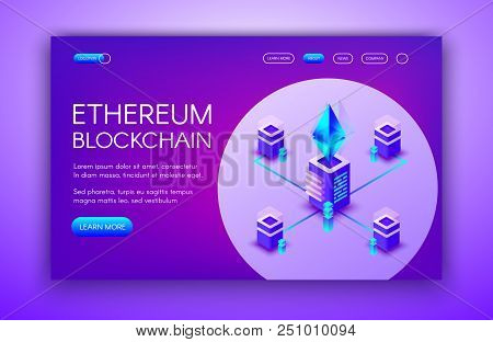 Ethereum Cryptocurrency Vector Illustration Of Blockchain Servers On Ether Mining Farm. Digital Cryp