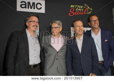 Vince Gilligan, Peter Gould, Bob Odenkirk, Charlie Collier arrive at the AMC's