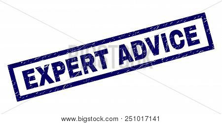 Rectangle Expert Advice Seal Print With Distress Texture. Rubber Seal Imitation Has Rectangle Frame.
