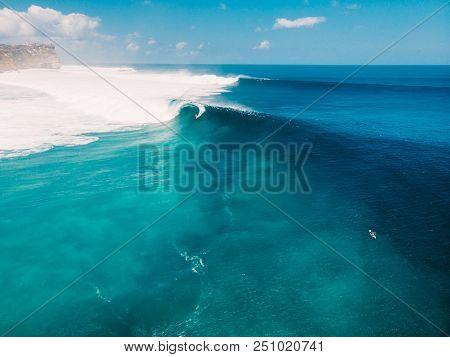 Aerial View Of Big Wave Surfing In Bali. Big Waves In Ocean
