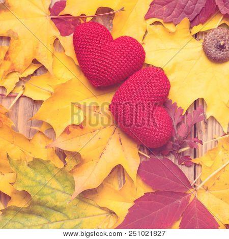 Autumn Leaves With Two Hearts. Symbol For Loving Autumn Season. Autumn Mood. Seasonal Sales. Autumn