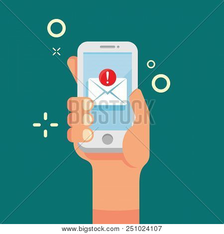 Hand Holding Mobile Phone With New Email Icon. New Incoming Message On Screen Smartphone Flat Style.