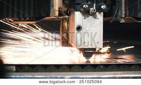 High Precision Cnc Laser Cutting Metal Sheet. Clip. Modern Technologies Allow To Receive High-precis