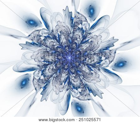Abstract Christmas Decoration Background. Beautiful Glass Winter Pattern With Snowflakes And Swirls.