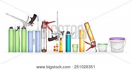 Construction Foam, Silicone Sealant, Paint And Glue Illustration Of 3d Realistic Container Bottles P