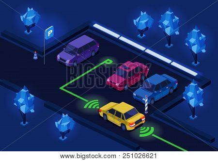 Parking Lot Isometric 3d Illustration Of Night City Car Parking With Illumination Technology. Isomet