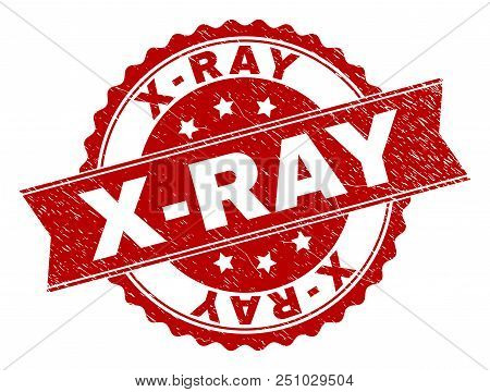 X-ray Seal Stamp With Distress Texture. Rubber Seal Imitation Has Round Medallion Shape And Contains
