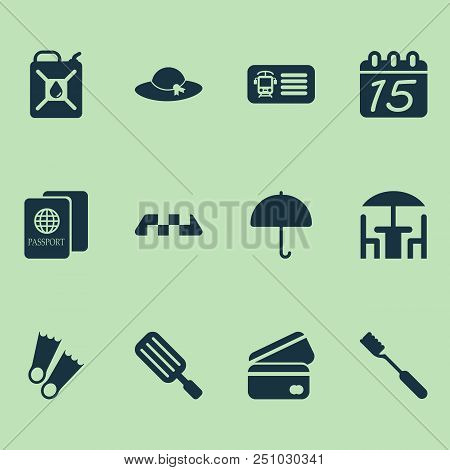 Journey Icons Set With Taxi, Train Ticket, Hat And Other Cab Elements. Isolated Vector Illustration