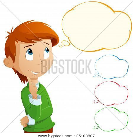 Cartoon Adorable Boy Thinking Isolated On White