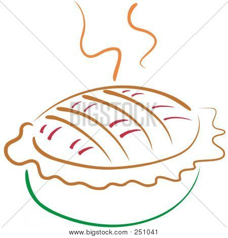 stylized lineart illustration of an apple pie poster