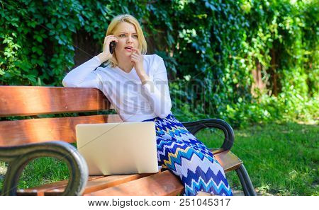 Girl Smartphone Call Solve Business Problem. Technologies Making Life Easier. Woman With Laptop Work