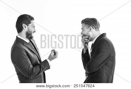 Businessmen With Smiling Faces And Hands Expression Talk To Partner. Communications And Business Con