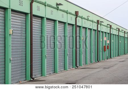 Numbered Self Storage And Mini Storage Garage Units .