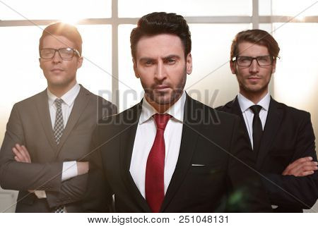 business partner standing on the background of business partner